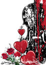 Vector floral Valentine  musical composition Stock Images