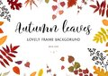 Vector floral watercolor style card design Autumn border, frame: colorful orange yellow brown red fall leaves berries, forest map