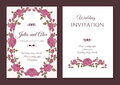 Vector floral wedding invitation card with frame of pink roses Royalty Free Stock Photo