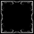 Vector floral white frame on a black background Royalty Free Stock Photo