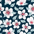 Vector Floral with White and Pink Flowers with Green Leaves on Blue Seamless Repeat Pattern
