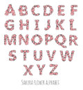 Vector flower font made with sakura flowers and leaves