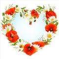 Vector flower frame in the shape of heart