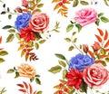 Vector flower hibiscus rose seamless pattern