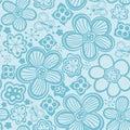 Vector flower pattern. Black and white seamless botanic texture