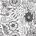 Vector Flower Pattern. Black A...
