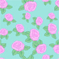 Vector flower pink roses seamless pattern on blue background Stock Photos