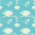 Vector flower seamless pattern background. Elegant texture for backgrounds. With dragonfly and lotus flower