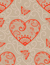 Vector flower seamless pattern element with hearts. Elegant texture for backgrounds.