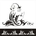 Vector flower silhouette with floral ornament Royalty Free Stock Images