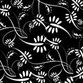 Vector flowers patterns on a black background Royalty Free Stock Image
