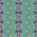 Vector Folk Daisies on green with Beads seamless pattern background.