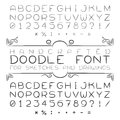 Vector font or alphabet in doodle style with numerals and punctuation marks Stock Images