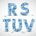 Vector font made from blue letters of the alphabet Stock Photography