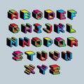 Vector font, typescript created in 8 bit style. Pixel art contemporary capital letters set, 3d digital design elements.