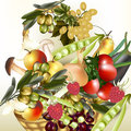 Vector food assorted fruit and vegetables olives apple raspbe mix of grapes tomato onion pears mushrooms on white Stock Image
