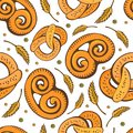 Vector food bakery seamless pattern with pretzel icons. Delicious pretzel background. Flour products from the confectionery shop.