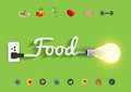 Vector food ideas concept creative light bulb design Royalty Free Stock Photo
