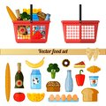 Vector food set. Supermarket red basket with food. Isolated objects on white background
