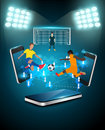 Vector football player striking the ball at the stadium technology communication concept design Stock Image