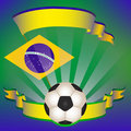 Vector Football poster with Brazilian  flag Royalty Free Stock Photo