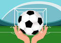 Vector Football Soccer Ball in Hands.Illustration on Sports Subjects.