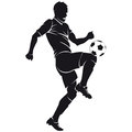 Vector football (soccer) player silhouette with ba