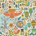 Vector forest design floral seamless pattern with forest animals frog fox owl rabbit hedgehog background butterflies Stock Photo