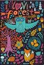 Vector forest illustration doodling animals design hand draw animals kids illustration funny cartoon animals in vector Stock Image