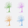 Vector four trees symbolizing the four seasons summer autumn winter and spring vecrtor design Stock Photography