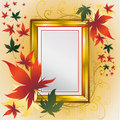 Vector frame with Autumn Leafs. Thanksgiving Stock Photos
