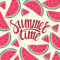 Vector frame background card Summer Time Seamless background with watermelon slices. Royalty Free Stock Photo