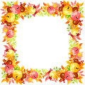 Vector frame with colorful autumn leaves. Royalty Free Stock Photo