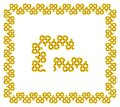 Vector frame and design elements of golden stripes intertwined in the shape of a heart in Celtic style
