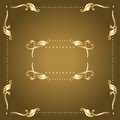 Vector frame gold with vintage floral elements Royalty Free Stock Image