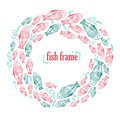 Vector frame with hand draw green and red fishes Royalty Free Stock Photo