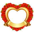 Vector frame in the shape of heart with red roses and golden ribbon valentines day or wedding greeting card Stock Image