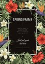 Vector frame template with tropical leaves and flowers on black background. Vertical layout card with place for text. Spring or