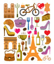 Vector france icons set Royalty Free Stock Photo