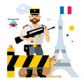 Vector France Police. Ensuring security in the capital. Flat style colorful Cartoon illustration.