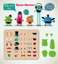 Vector freaky hipster monsters set funny illustration Royalty Free Stock Image