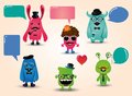 Vector freaky hipster monsters set with speech bubbles illustration Stock Photography