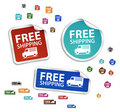 Vector free delivery stickers, free shipping label Royalty Free Stock Photography