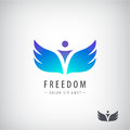 Vector freedom logo, concept. Man with wings Royalty Free Stock Photo