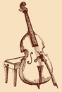 Vector freehand drawing double bass with a bow simply supported on tabouret for musician Stock Photo