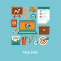 Vector freelance work concept icons and sign in flat style Stock Image