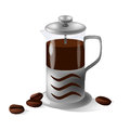 Vector french press on the white background and coffee beans