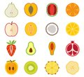 Vector fruit icon set - pear, peach, apricot Royalty Free Stock Photo