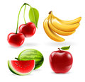 Vector fruit icons set watermelon apple cherries and bananas Stock Photography