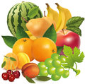 Vector fruit mix blend of ripe juicy organic Royalty Free Stock Photo